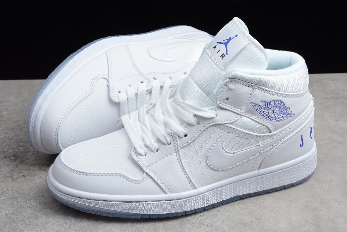 2018 Air Jordan 1 (I) Retro Mid Pure White Concord White Shoes
