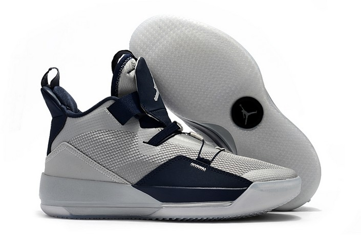 2018 Air Jordan 33 (XXXIII) Georgetown Hoyas Grey Navy Blue PE Basketball Shoes