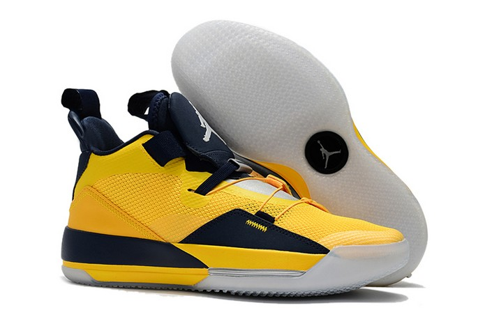 "2018 Air Jordan 33 (XXXIII) ""Michigan"" Maize Navy Blue PE Basketball Shoes"
