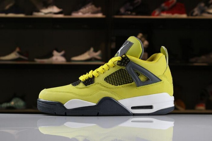 "Air Jordan 4 ""Lightning"" Tour Yellow Dark Blue Grey White Shoes"