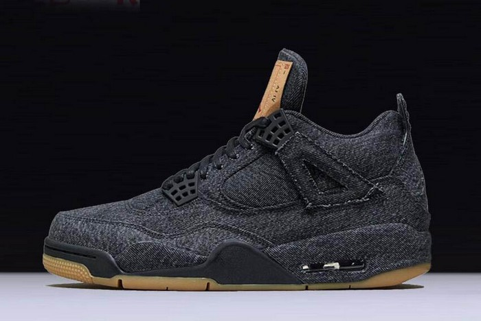 Levi's x Air Jordan 4 (IV) Retro All Black Shoes