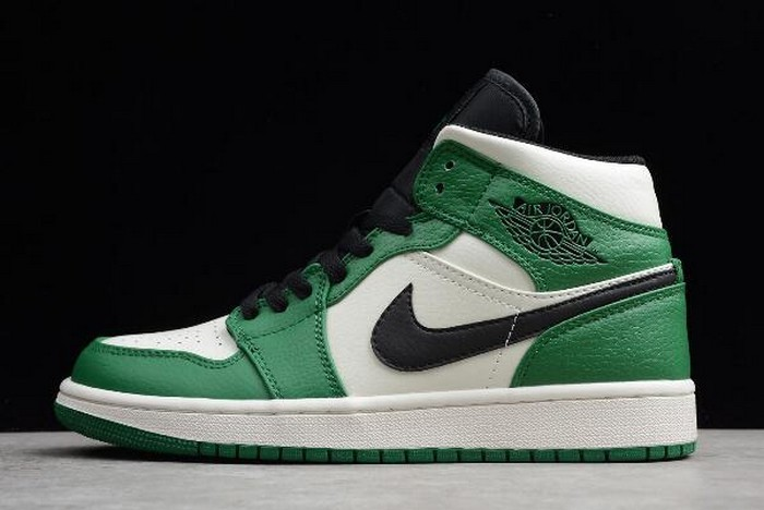 2018 Mens Air Jordan 1 (I) Retro Mid SE Pine Green White Black Shoes