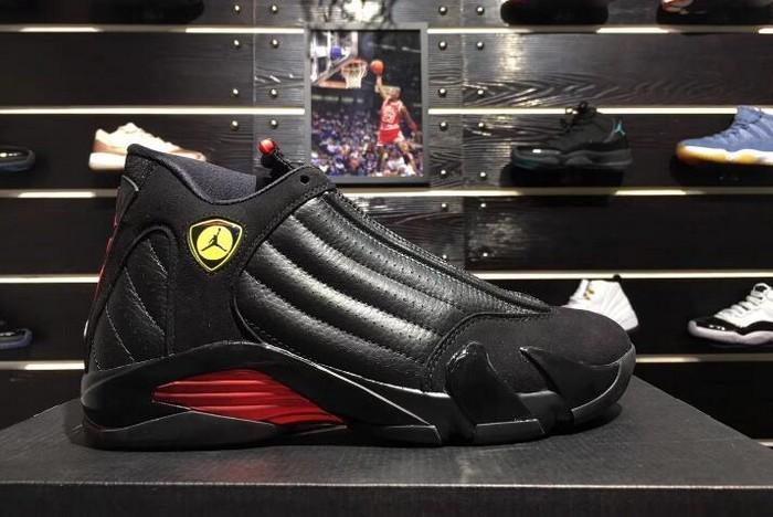 "Air Jordan 14 (XIV) ""Last Shot"" Black Varsity Red 487471 003 Basketball Shoes"