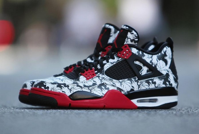 "2018 New Air Jordan 4 (IV) Retro ""Tattoo"" Black Fire Red Black White BQ0897 006 Shoes"