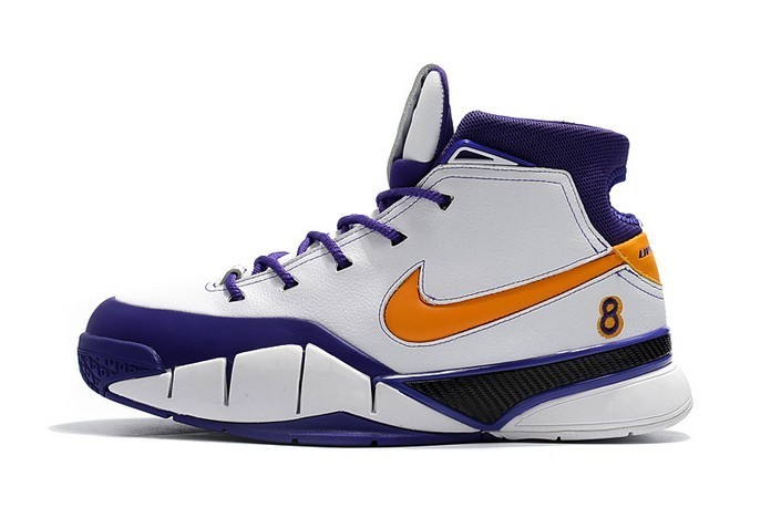 "Nike Kobe 1 Protro ""Final Seconds"" White Del Sol Varsity Purple AQ2728 101 Basketball Shoes"