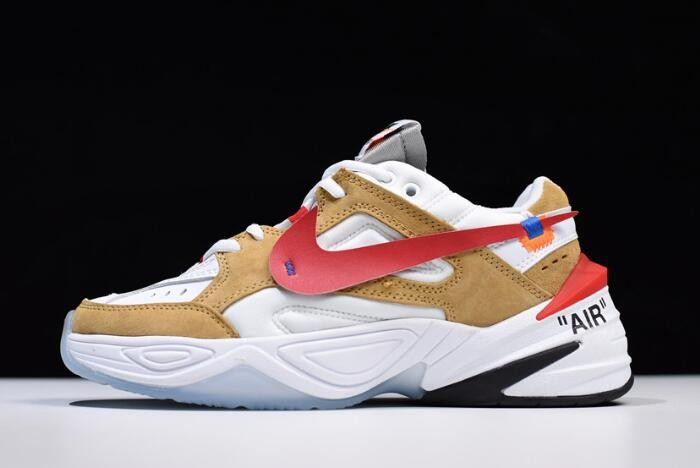 Off White x Nike M2K Tekno White Wheat Red Dad AO3108 200 Shoes