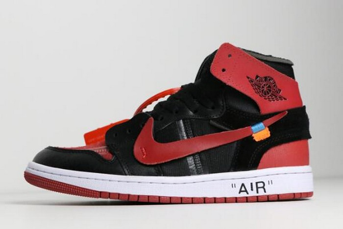 "Off White x Air Jordan 1 ""Banned"" Black University Red White AA3834 003 Shoes"