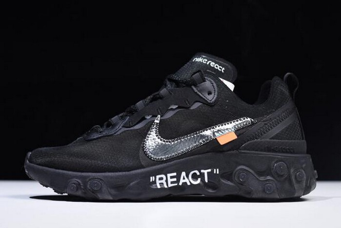 Off White x Nike React Element 87 Black AQ0068 001 Running Shoes