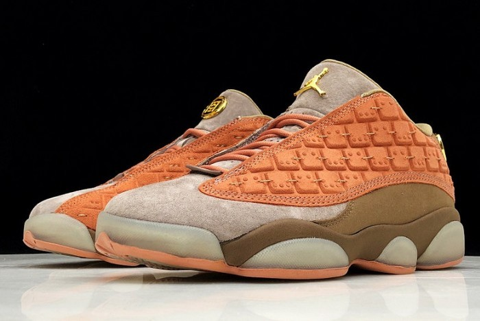 2018 Womens CLOT x Air Jordan 13 Low Sepia Stone Canteen Terra Blush AT3102 200 Shoes