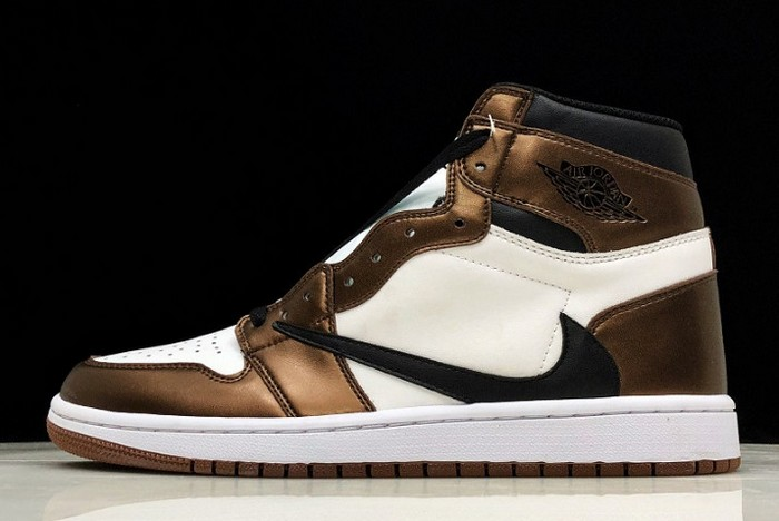 "2019 Air Jordan 1 (I) Retro High OG ""Travis Scott"" Bronze Black White Shoes"