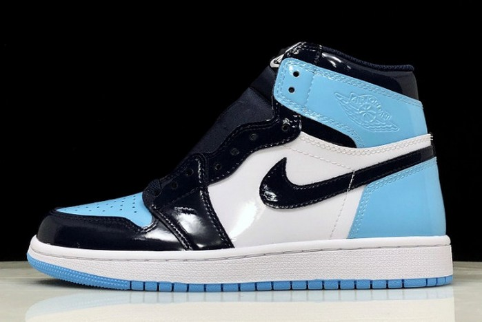 "2019 Air Jordan 1 (I) High OG ""UNC Patent"" Obsidian Blue Chill White Shoes"