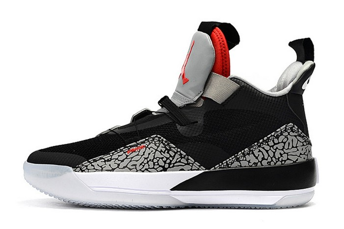 2019 Air Jordan 33 (XXXIII) Elephant Print Black Cement Shoes