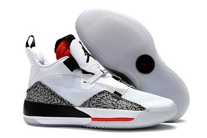 2019 Air Jordan 33 (XXXIII) Elephant Print White Cement Shoes