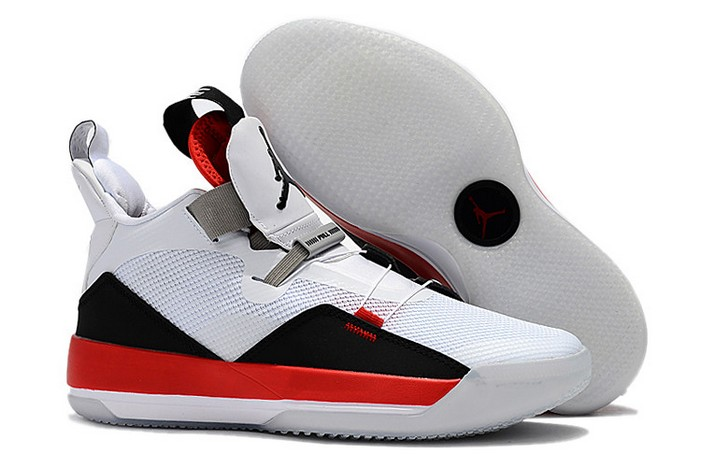 2019 Air Jordan 33 (XXXIII) White Fire Red Black Shoes
