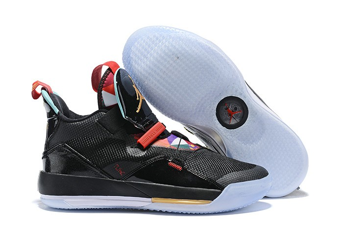 "2019 New Air Jordan 33 (XXXIII) ""Chinese New Year"" CNY Black Gold Red Shoes"