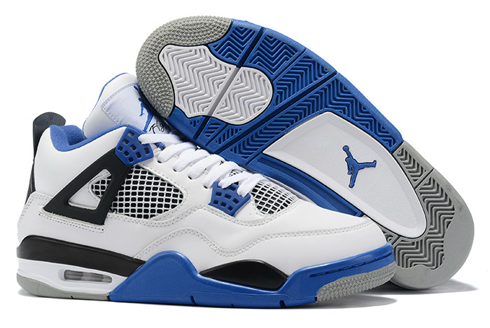 air jordan 4 white royal blue black sneakers