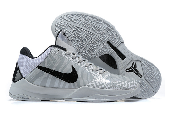 nike zoom kobe 5 zebra white grey black sneakers
