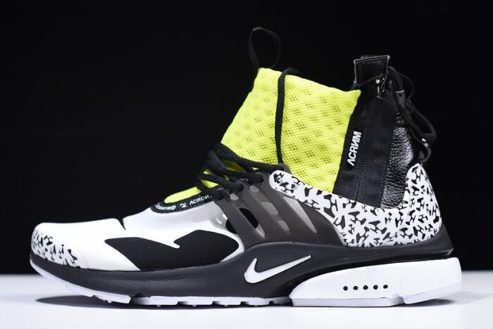 2018 Acronym x Nike Air Presto Mid White Black Dynamic Yellow AH7832 100 Shoes
