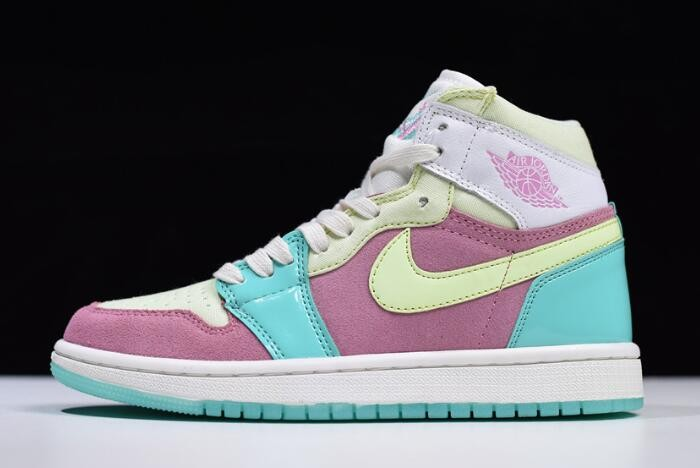 "Womens Air Jordan 1 GS ""Easter"" Sail Hyper Turquoise Barely Volt 555112 400 Shoes"