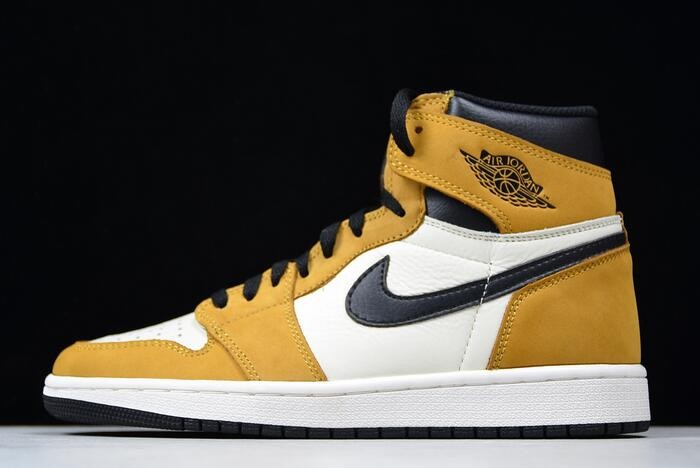 "Air Jordan 1 High OG ""Rookie of the Year"" Gold Harvest White Black 555088 700 Shoes"