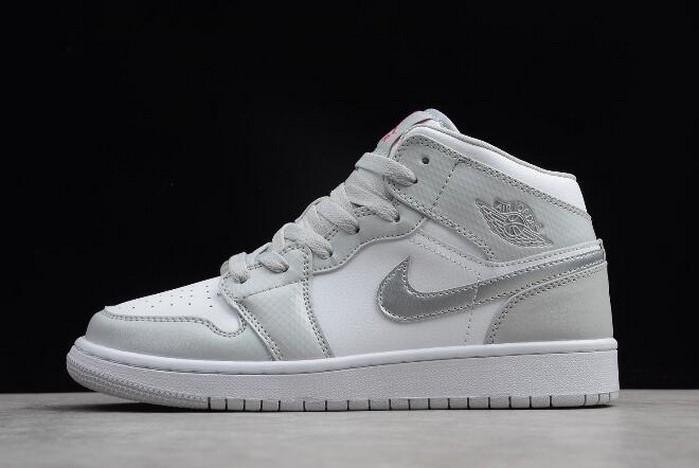Womens Air Jordan 1 Mid GS Grey Fog Deadly Pink 555112 012 Shoes