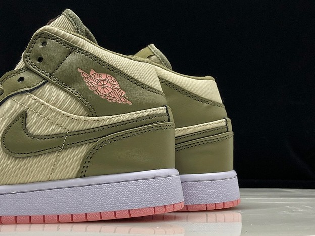 "2018 Air Jordan 1 Mid GS ""Bleached Coral"" Light Orewood Brown 555112 225 Shoes"