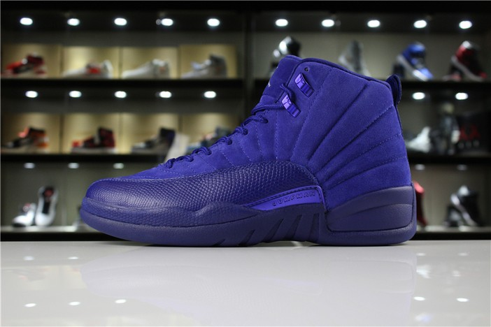 "Air Jordan 12 (XII) ""Blue Suede"" Deep Royal Blue White Metallic Silver Shoes"