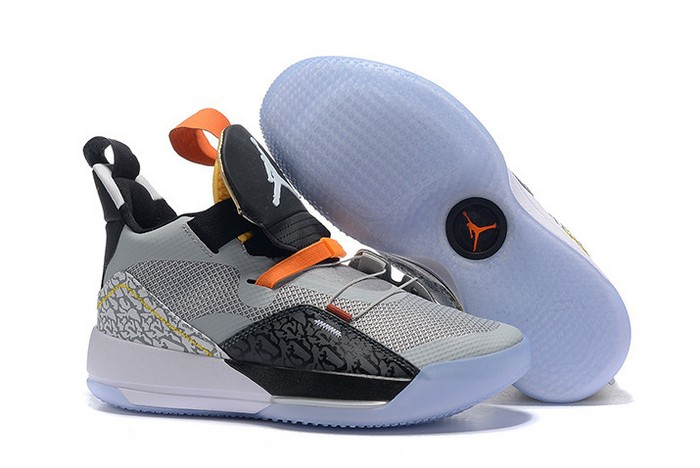 2018 Air Jordan 33 (XXXIII) Elephant Print Black Wolf Grey Orange White Shoes