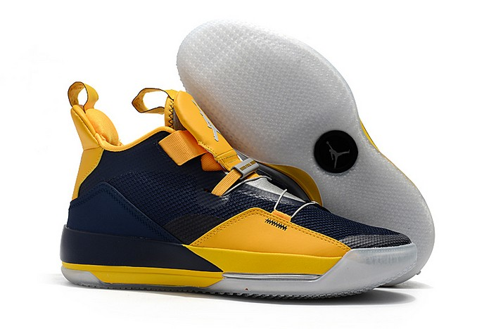 "2018 Air Jordan 33 XXXIII ""Michigan"" Navy Blue Yellow PE Basketball Shoes"