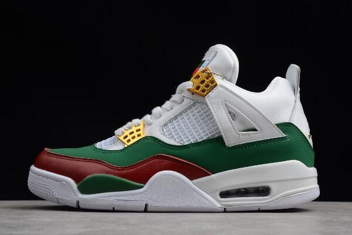 "Air Jordan 4 ""GG"" White Green Red Metallic Gold 308599 111 Shoes"