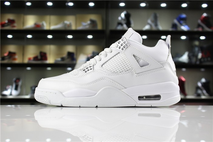 "Air Jordan 4 (IV) ""Pure Money"" White Metallic Silver 308497 100 Mens Shoes"