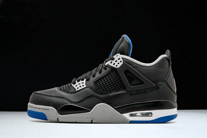 "Air Jordan 4 Retro ""Motorsport Away"" Black Game Royal Matte Silver Shoes"