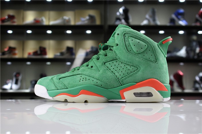 "Womens Air Jordan 6 (VI) GS Retro ""Gatorade"" In Green Suede Shoes"