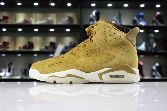 "Air Jordan 6 (VI) Retro ""Wheat"" Golden Harvest Elemental Gold 384664 705 Shoes"