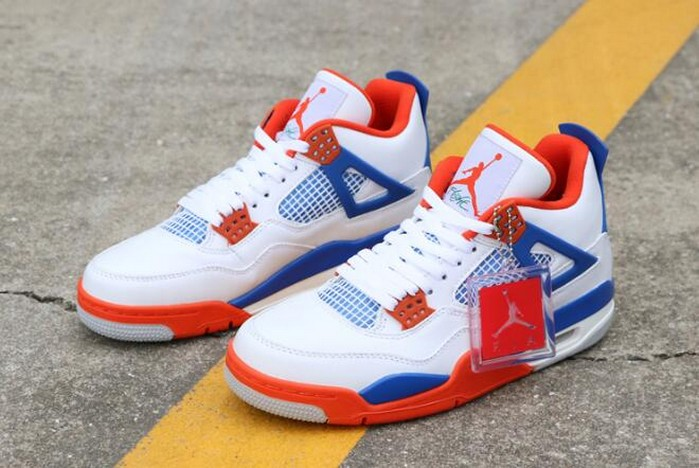 "Custom Air Jordan 4 (IV) Retro ""Knicks"" White Royal Blue Orange 308497 171 Shoes"