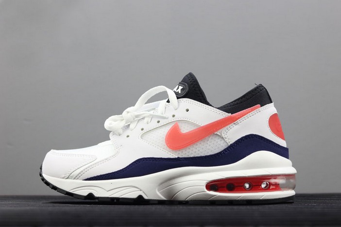 "Mens Nike Air Max 93 OG ""Flame Red"" White Habanero Red Neutral Indigo Black Shoes"