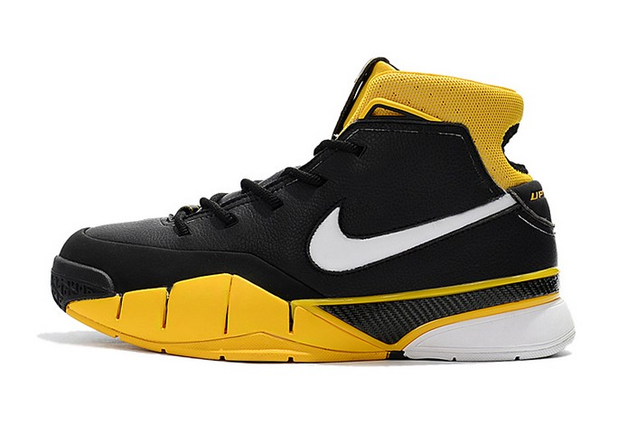 Mens Nike Zoom Kobe 1 Protro Black White Varsity Maize Basketball Shoes