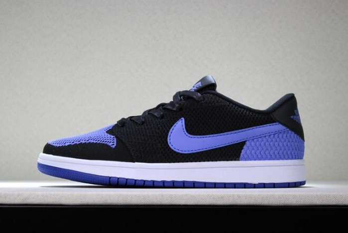 "Air Jordan 1 Low Flyknit ""Royal"" Black Game Royal White Mens Basketball Shoes"