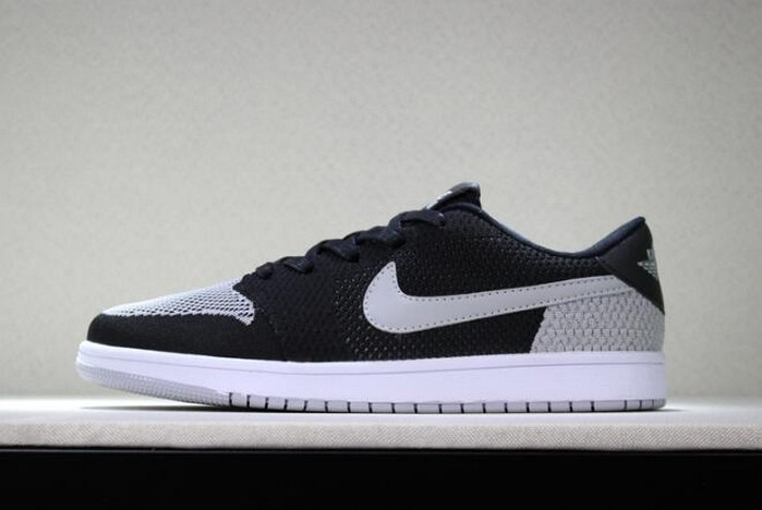 "Air Jordan 1 Low Flyknit ""Shadow"" Black Wolf Grey White Mens Basketball Shoes"