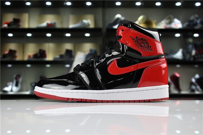 "Air Jordan 1 High OG NRG Patent Leather ""Banned"" Black White University Red Shoes"
