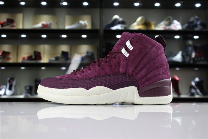 "Air Jordan 12 ""Bordeaux"" Bordeaux Metallic Silver Sail Shoes"