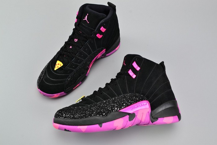 "Air Jordan 12 (XII) Retro DB ""Doernbecher"" Black Hyper Violet Pink Blast Shoes"