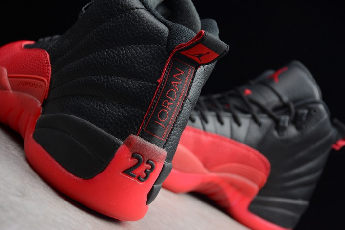 "Air Jordan 12 Retro ""Flu Game"" Black Varsity Red Shoes"