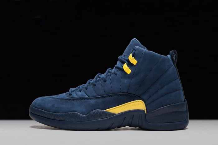 "PSNY x Air Jordan 12 ""Michigan"" PE College Navy Amarillo Shoes"