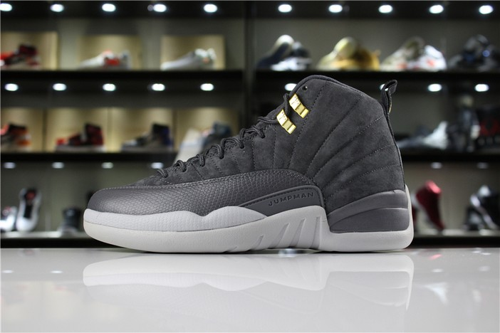 "Air Jordan 12 ""Dark Grey"" Dark Grey Dark Grey Wolf Grey Shoes"