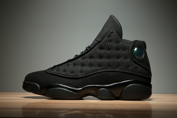 "Womens Air Jordan 13 (XIII) GS Retro ""Black Cat"" Black Anthracite Black 414571 011 Shoes"