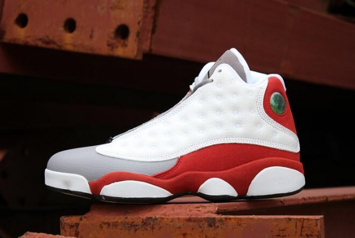 "Air Jordan 13 Retro ""Grey Toe"" White Black True Red Cement Grey 414571 126 Shoes"