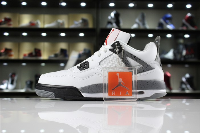"Air Jordan 4 '89 OG ""White Cement"" White Fire Red Black Tech Grey 840606 192 Shoes"
