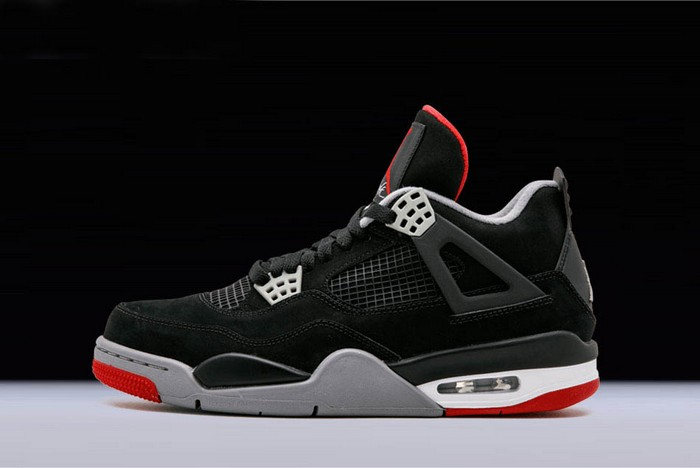 "Air Jordan 4 (IV) Retro ""Bred"" Black Cement Grey Fire Red 308497 089 Shoes"