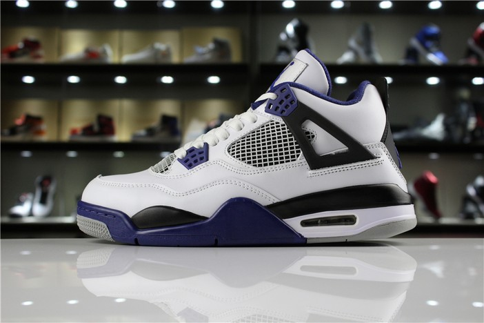 "Mens Air Jordan 4 Retro ""Motorsport"" White Game Royal Black 308497 117 Shoes"